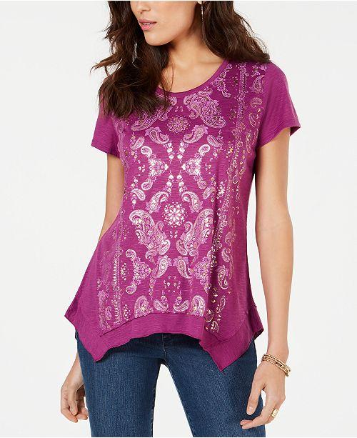 Style & Co Petite Asymmetrical Metallic-Print T-Shirt, Created for Macy's