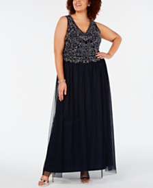 Adrianna Papell Plus Size Hand-Beaded Gown