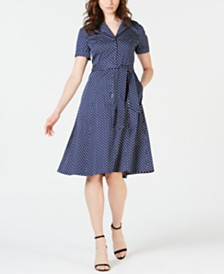 Anne Klein Dot-Print Short-Sleeve Shirtdress