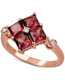 Rhodolite Garnet (2-1/2 ct. t.w.) & Diamond Accent Statement Ring in 14k Rose Gold