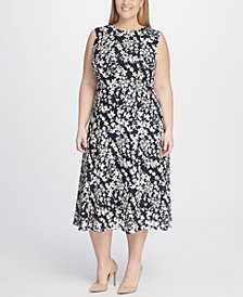 Tommy Hilfiger Plus Size Floral Printed Dot Lace Midi Dress