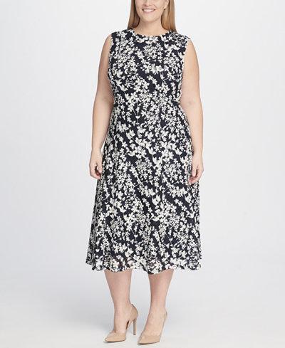 Tommy Hilfiger Plus Size Floral Printed Dot Lace Midi Dress