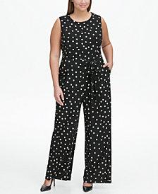 Tommy Hilfiger Plus Size Jersey Dot Sleeveless Jumpsuit
