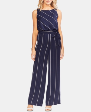 Vince Camuto Suits BELTED STRIPED WIDE-LEG JUMPSUIT