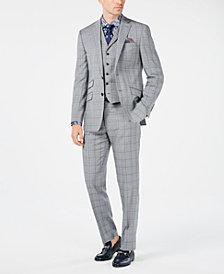 Tallia Orange Men's Slim-Fit Gray/Light Blue Plaid Vested Suit