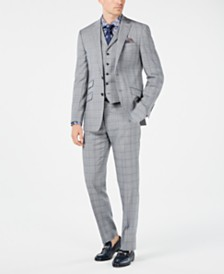 Tallia Orange Men's Slim-Fit Gray/Light Blue Plaid Vested Suit