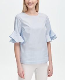 Calvin Klein Striped Ruffled-Sleeve Top