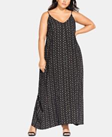 City Chic Plus Size Geo-Print Maxi Dress
