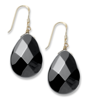 Sterling Silver Earrings, Onyx Faceted Teardrop Earrings