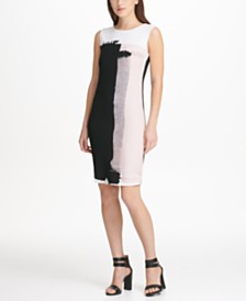 DKNY Sleeveless Printed Sheath Dress, Created for Macy's