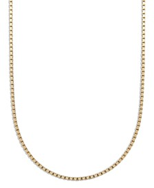 "18K Gold over Sterling Silver Necklaces, 18-30"" Box Chain"