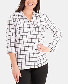 NY Collection Dot-Print Utility Shirt