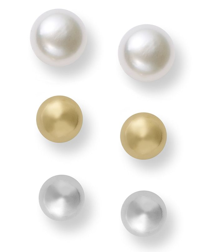 Giani Bernini Pearl Earrings Set, Two-Tone Cultured Freshwater Pearl Stud Earrings