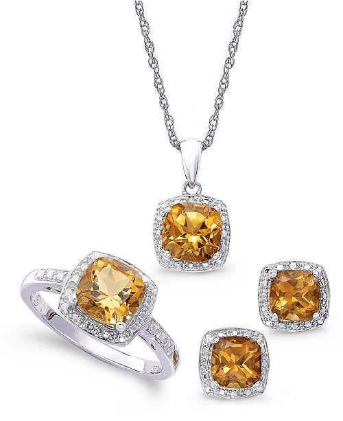Macy's Sterling Silver Jewelry Set, Citrine (4-3/4 ct. t.w.) and Diamond Accent Necklace, Earrings and Ring Set