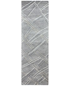 "Downtown HG351 Gray 2'6"" x 8' Runner Area Rug"