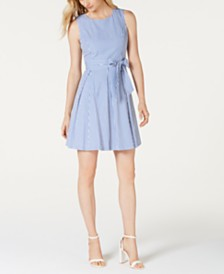 Pappagallo Striped Self-Tie Sleeveless Dress