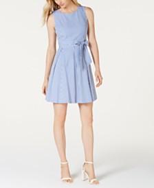Pappagallo Striped Self-Tie Sleeveless Dress