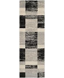 "Retro Black and Light Grey 2'3"" x 11' Runner Area Rug"
