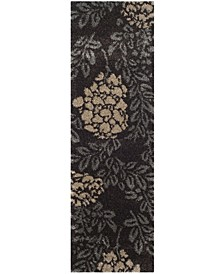 "Shag Dark Brown and Grey 2'3"" x 11' Runner Area Rug"