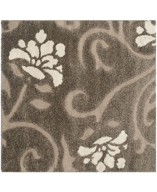 Safavieh Shag Smoke and Beige 4' x 4' Square Area Rug