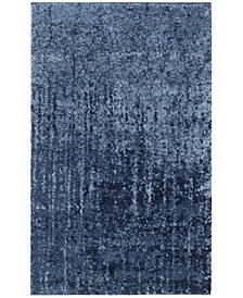Retro Light Blue and Blue 3' x 5' Area Rug