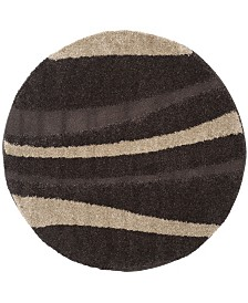 Safavieh Shag Dark Brown and Beige 5' x 5' Round Area Rug