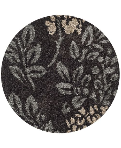 "Safavieh Shag Dark Brown and Gray 6'7"" x 6'7"" Round Area Rug"