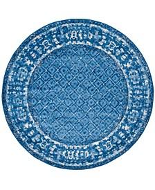 Adirondack Light Blue and Dark Blue 8' x 8' Round Area Rug
