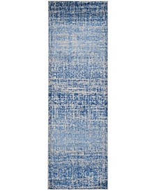 """Adirondack Blue and Silver 2'6"""" x 22' Area Rug"""