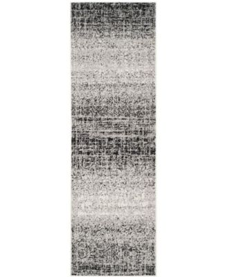"Adirondack Silver and Black 2'6"" x 16' Runner Area Rug"
