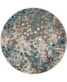 Monaco Gray and Light Blue 9' x 9' Round Area Rug
