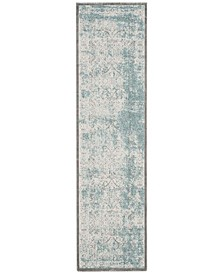 """Passion Turquoise and Ivory 2'2"""" x 12' Runner Area Rug"""