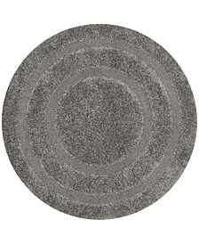 Shag Gray 5' x 5' Round Area Rug