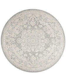 Safavieh Reflection Light Gray and Cream 5' x 5' Round Area Rug