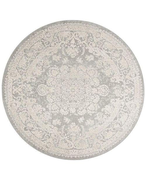 Safavieh Reflection Light Gray and Cream 5' x 5' Round Area Rug