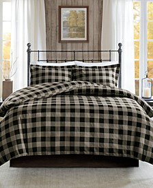 Flannel King/Cal King 3 Piece Check Print Cotton Duvet Cover Set