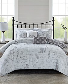 510 Design Marseille Full/Queen 5 Piece Reversible Paris Printed Comforter Set