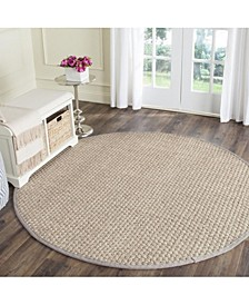 Natural Fiber Natural and Gray 7' x 7' Sisal Weave Round Area Rug