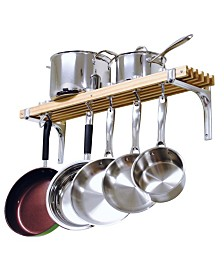 "Cooks Standard Wall Mounted Wooden Pot Rack, 36"" X 8"""