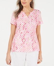 Karen Scott Metallic Printed Henley T-Shirt, Created for Macy's