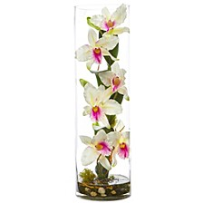 "20"" Cattleya Orchid Artificial Floral Arrangement in Cylinder Vase"