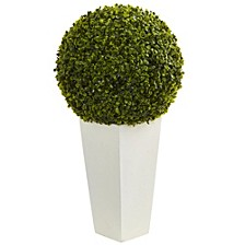 """28"""" Boxwood Topiary Ball Artificial Plant in White Tower Planter"""