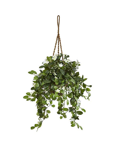 Nearly Natural Stephanotis Flowering Artificial Plant in Hanging Basket