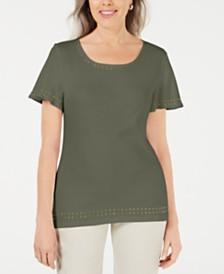 Karen Scott Grommet-Trim Flutter-Sleeve Top, Created for Macy's