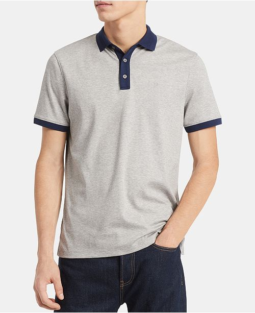 Calvin Klein Men's Liquid Touch Big & Tall Slim-Fit Contrast Jacquard-Collar Polo Shirt