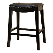 Jaden Bonded Leather Saddle Short Bar Stool, Quick Ship