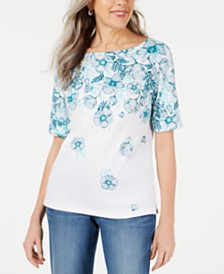 Karen Scott Floral-Print Boatneck Top, Created for Macy's