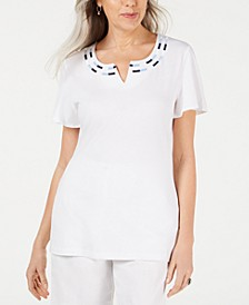 Embroidered Split-Neck Top, Created for Macy's