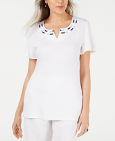 Karen Scott Embroidered Split-Neck Top, Created for Macy's