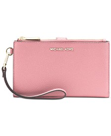 30913f1553de MICHAEL Michael Kors Adele Double-Zip Pebble Leather Phone Wristlet